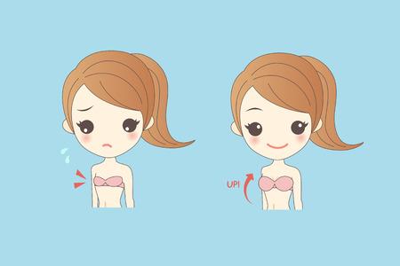 breast comic: cartooon woman wear underwear has different cup size Illustration