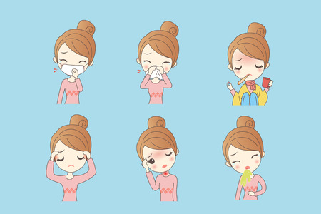 cartoon woman has fever caused by a variety of cold