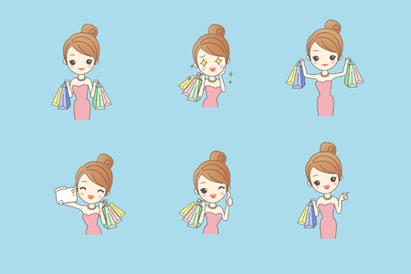 Cartoon happy shopping woman with bags and gift box