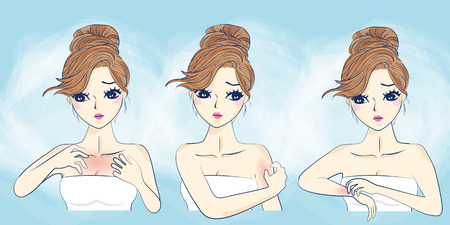 만화 소녀 피부 알레르기와 불행을 느낍니다.