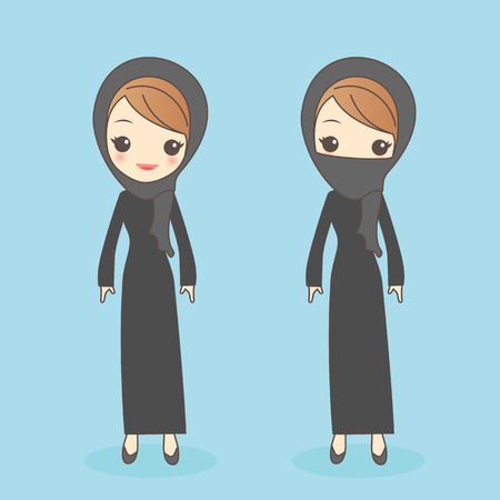 middle eastern: cartoon arab woman look to you, great for your design