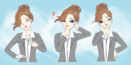 cartoon businesswoman feel confuse, great for your concept