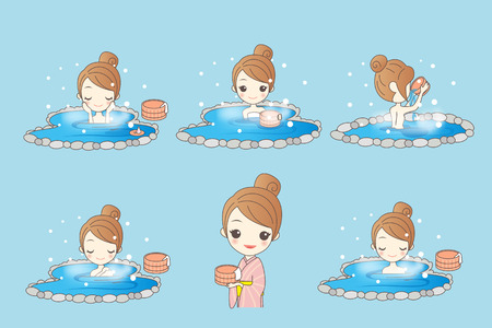 onsen: cartoon woman with hot spring in the winter