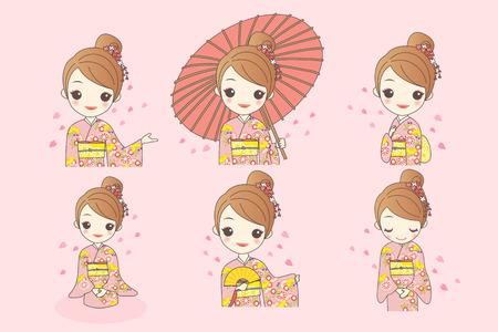 japanese girl is wear kimono and take Japanese paper umbrella with cherry blossom or sakura Illustration