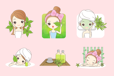 cartoon girl care her face with green leaf , concept for skin care or organic cosmetics , beauty wellness concept