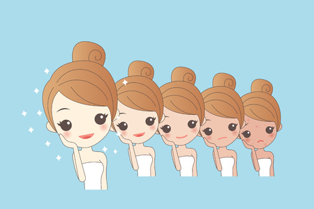facial care: cartoon girls face whitening, great for your design Illustration