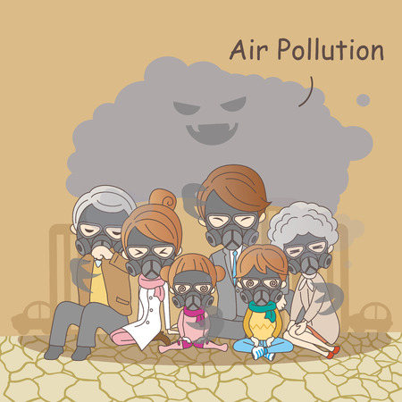 cartoon family feeling bad with air pollution