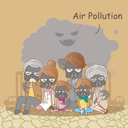 cartoon family feeling bad with air pollution