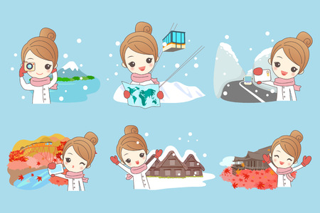 japanese maple: cartoon woman travel happily in japan in winter with snow Illustration