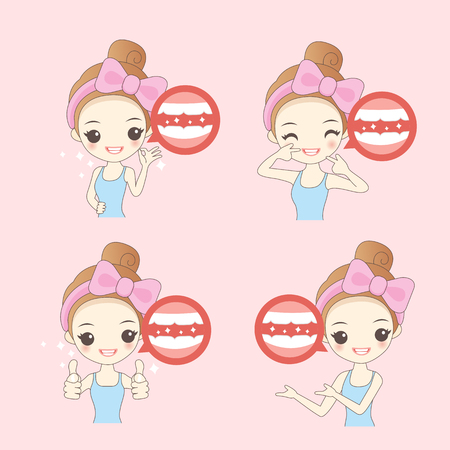 introduce: cartoon woamn thumb up with teeth whitening , great for healthy concept