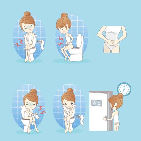Cartoon woman is constipation uncomfortable in bathroom
