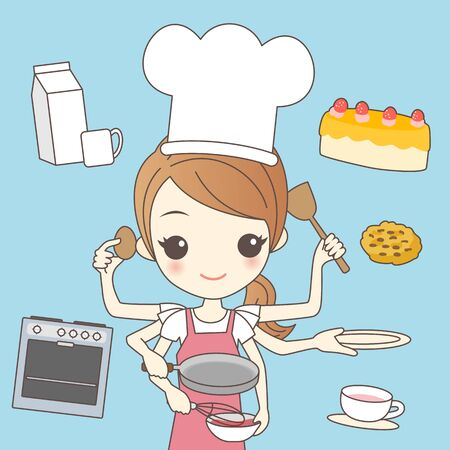 cartoon busy chef concept with many hands
