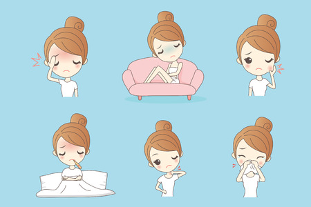 cartoon unhappy girl  feel pain and sick, Healthy Lifestyle Concept