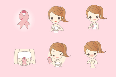 breast comic: cartoon woman go to check for breast cancer Illustration