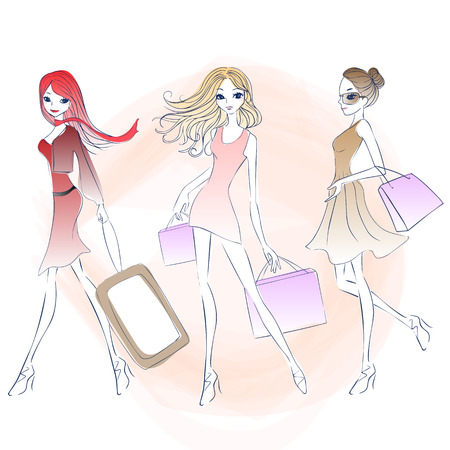 cartoon fashion woman shopping, great for your design Illustration