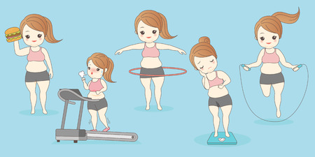 cartoon fat woman in weight loss, great for your design