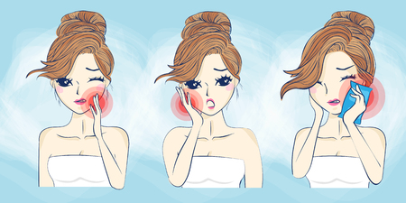 cartoon woman have toothache,great for your concept