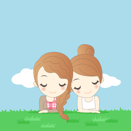 calm down: two cartoon young women lying on grass Illustration