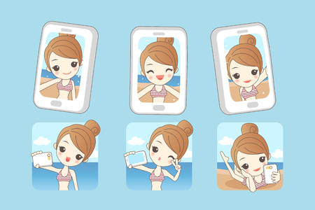 beauty smile: Cartoon young woman smile take selfie by smart phone with summer beach background, beauty