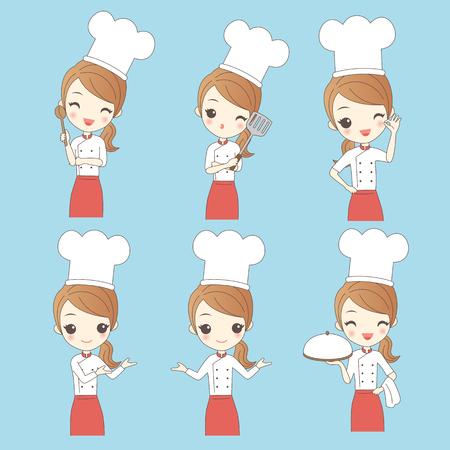 De dibujos animados cocinero de la mujer joven, por su gran diseño