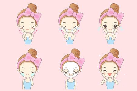 cartoon woman do facial care, great for your design