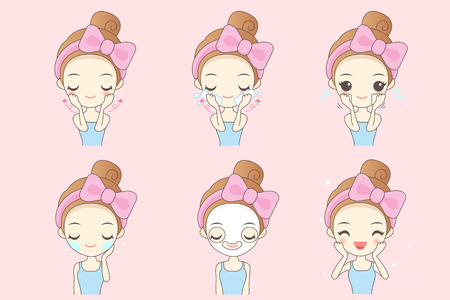 cartoon woman do facial care, great for your design