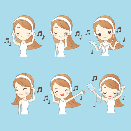 listen music: Cartoon beautiful young woman listen music, great for your design Illustration