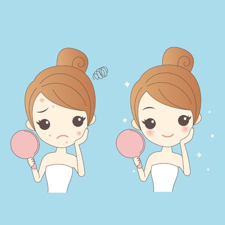 cartoon huidverzorging vrouw met acne en neem spiegel controleren, beauty
