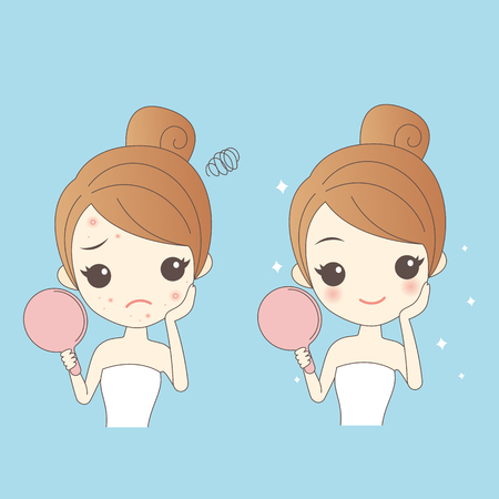 pustule: cartoon skin care woman with acne and take mirror check it, beauty