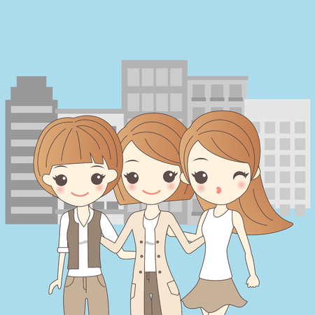 three cartoon girls smiling and have fun in the city Illustration