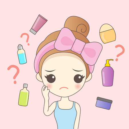 cartoon woman do facial maintenance, great for your design  イラスト・ベクター素材
