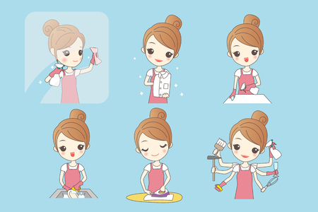 wiping: woman is doing housework and look happily,health lifestyle concept