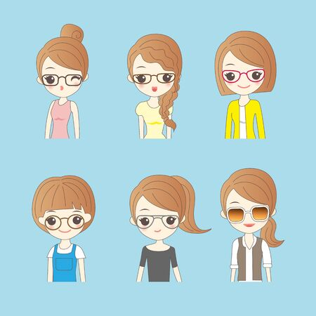 woman white shirt: cartoon wear different glasses ,great for your design