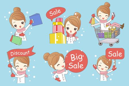 cartoon woman shopping in winter, great for your design