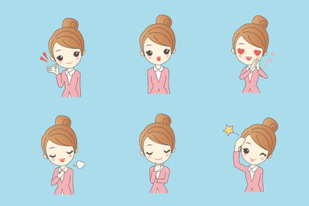 cartoon businesswoman is making variety of expressions Illustration
