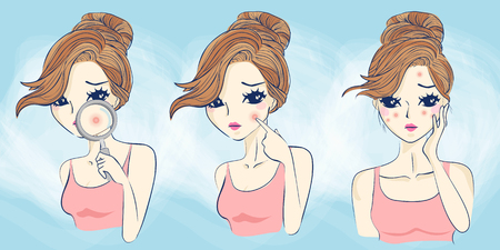cartoon woman has face problem ,great for your design