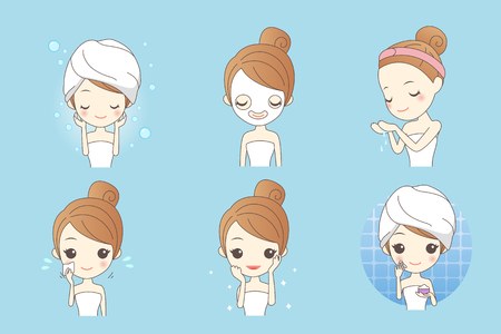 facial care: cartoon skin care woman with mask, beauty Illustration