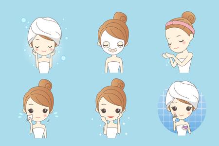 Mujer del cuidado de la piel de dibujos animados con máscara, belleza