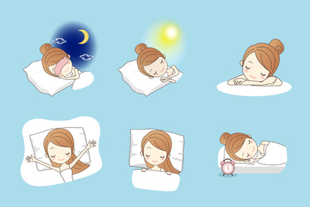 woman lying in bed: Cartoon young beauty woman sleep on bed, great for your design