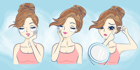 cartoon skin care woman make up,great for your design