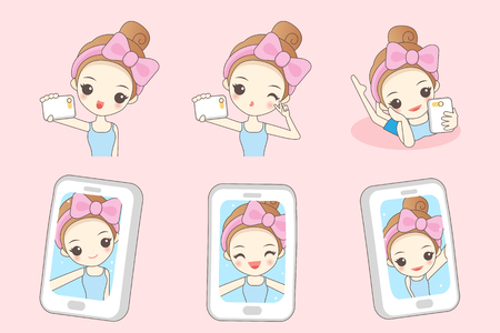 beauty smile: Cartoon young woman smile take selfie by smart phone, beauty