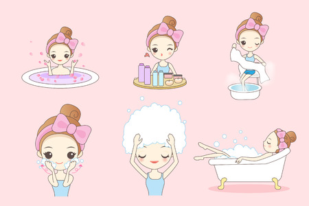Cartoon beautiful young woman enjoy bath at home, beauty