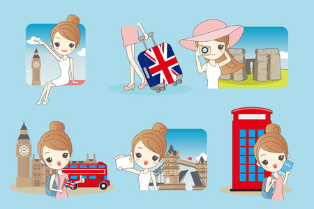 london tower bridge: Cartoon happy woman travel in London, United Kingdom, England