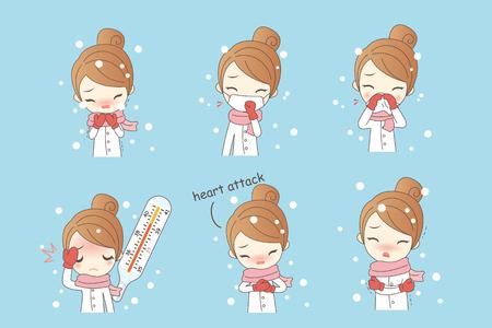 cartoon woman has sick in the winter