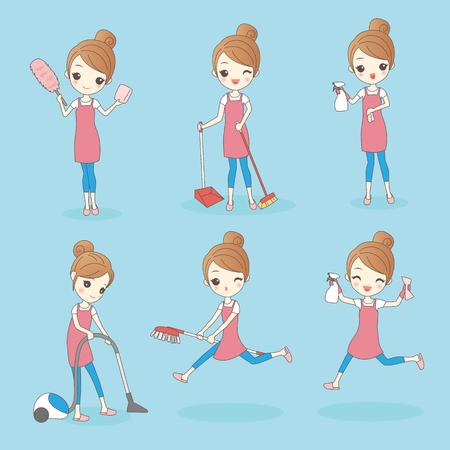 donna sta facendo lavori di casa e guardare felicemente, il concetto di stile di vita di salute