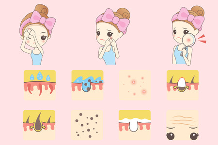 pustule: cartoon skin care woman with acne and magnifying glass check it, beauty