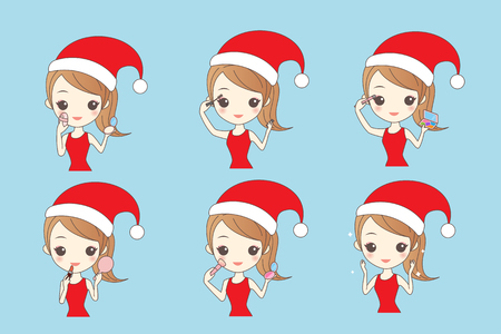 christmas cartoon girl make up, Lifestyle Concept