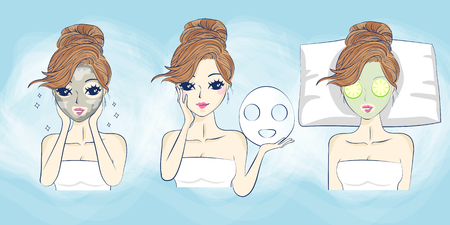 face mask: cartoon woman care her face with mask, facial, beauty Illustration