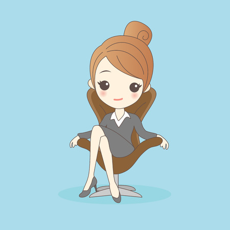 introduce: cartoon business woman is sit on the chair Illustration