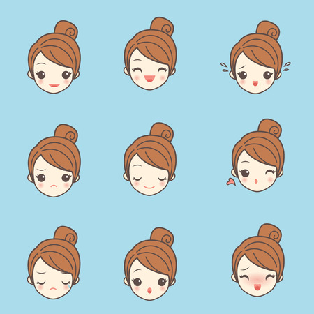 cartoon girl face with various expression, facial, beauty